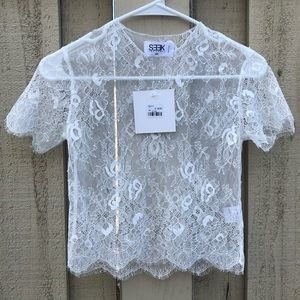 Seek the Label White Lace Top